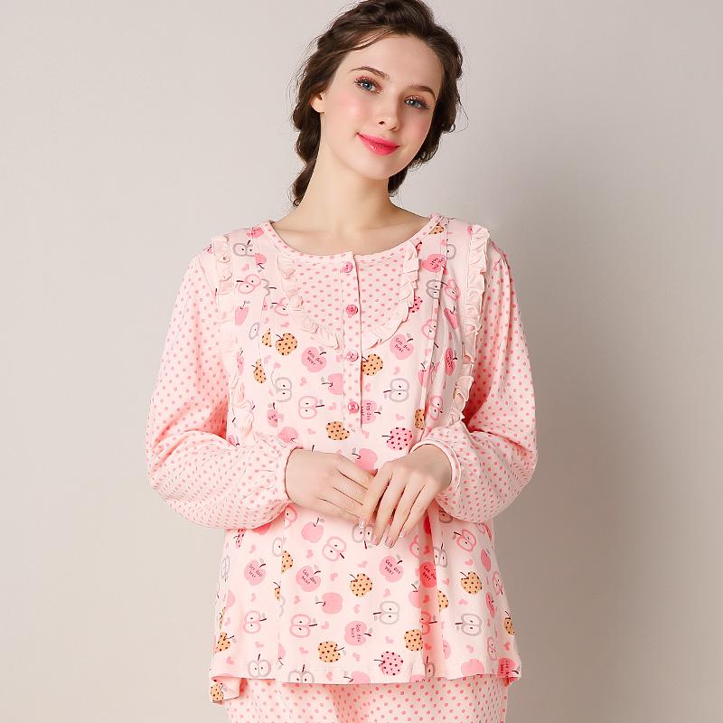 妈咪秘密春夏月子服 家居服纯棉长袖哺乳睡衣套装喂奶服