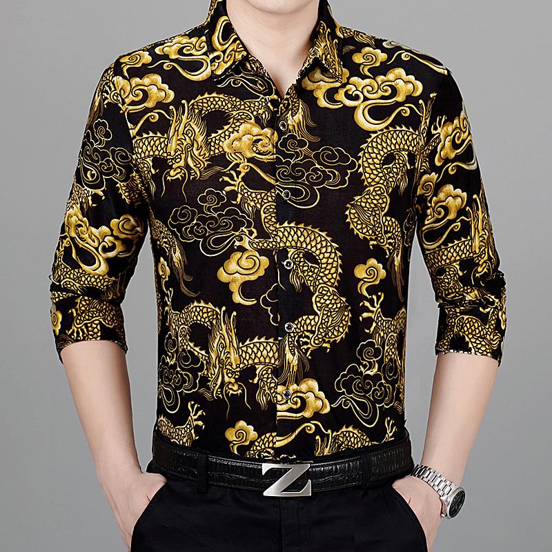 秋冬季男士桑蚕丝长袖花衬衫龙纹中老年爸爸装宽松大码真丝花衬衣