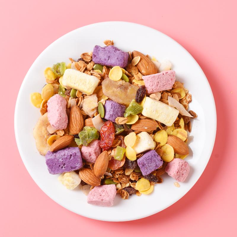 酸奶水果燕麦片即食冲饮快煮速食早餐非脱脂混合坚果烘焙麦片400g