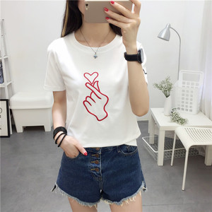 Women's T-shirt short-sleeved 2018 Korean version of the summer new T-shirt than the heart pattern print loose short-sle