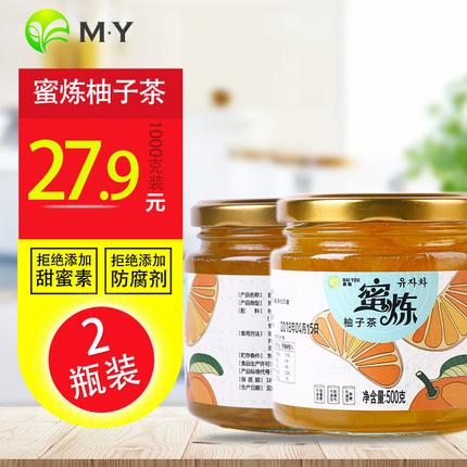 麦柚蜂蜜柚子茶 2瓶装1Kg热饮泡水喝的饮品 冲饮冲泡水果茶花茶酱