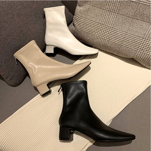Elastic thin skinny boots large size 414243 small size square head thick heel short boots women 313233 women shoes women autumn and winter wild