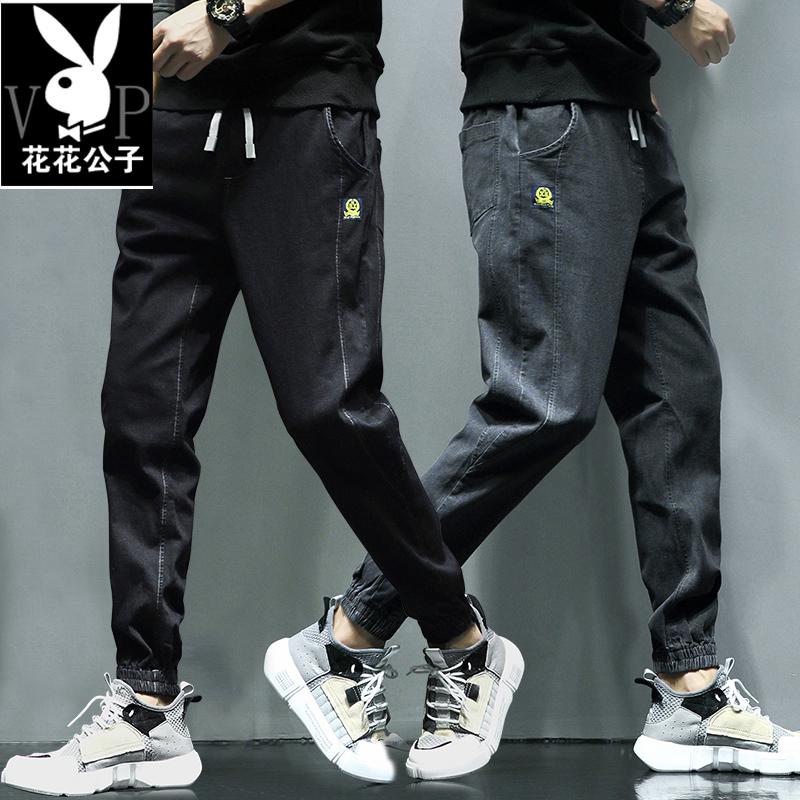 花花公子贵宾牛仔裤男宽松潮牌工装裤休闲长裤子韩版潮流春季小脚