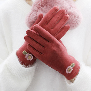 Spring and autumn and winter gloves female thin section winter cold plus velvet mother hand bicycle winter imitation cashmere warm