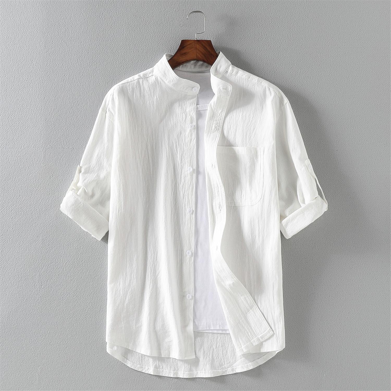 男士亚麻短袖衬衫夏天麻布青年夏装宽松休闲棉麻料衬衣男装上衣服