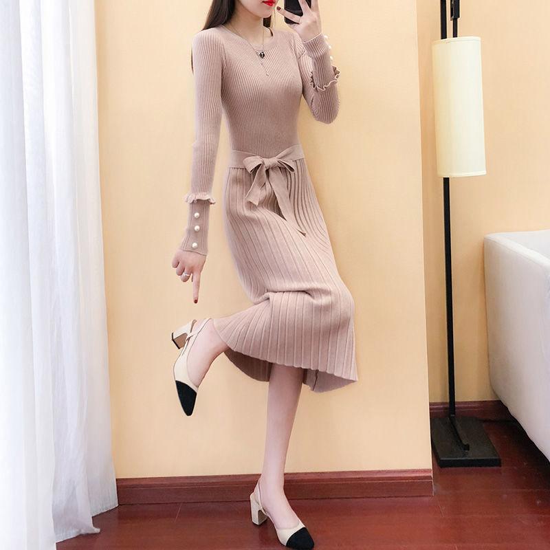悦芳菲2020春季新款毛衣裙秋冬打底裙子女装长款针织连衣裙长袖
