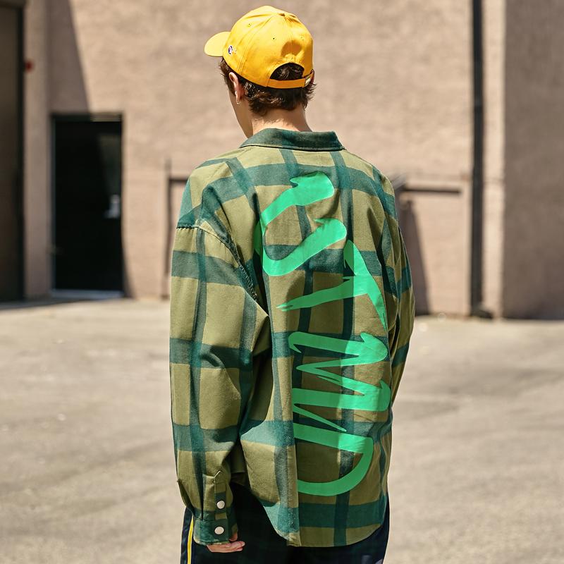 大格子衬衫男潮宽松ins嘻哈潮流外套绿色休闲男士衬衣长袖春秋款
