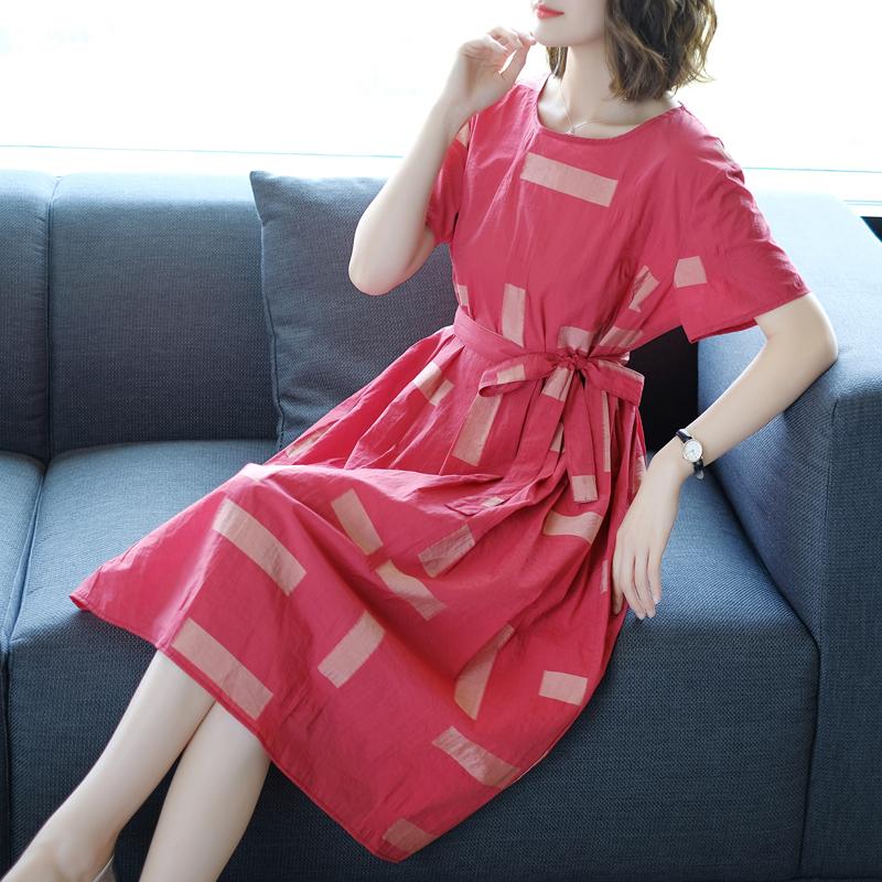复古连衣裙2018新款夏天欧美女装休闲气质圆领收腰系带丝麻中长裙