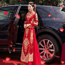 秀禾服2021新款结婚显瘦女ls11娘中款op酒服旗袍秀和禾服