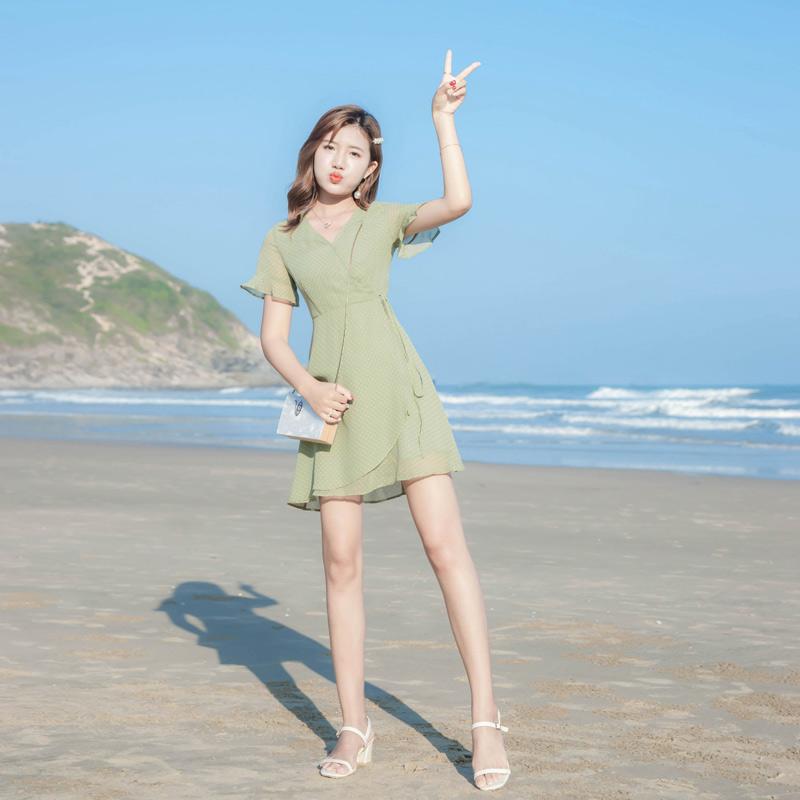 夏季 新款 女装 少女 甜美 清新 不规则 连衣裙