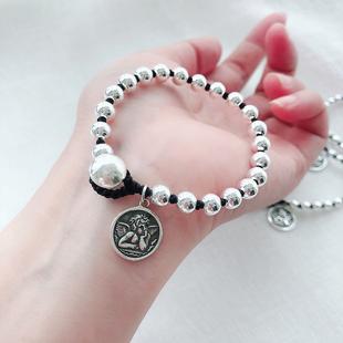 银珠手工编织手绳S925纯银情侣简约个性学生林彦俊同款小天使手链