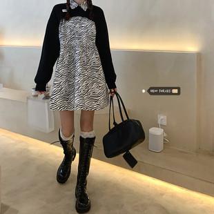 微胖女生穿搭韩版chi套装大码胖妹妹短款罩衫+斑马纹连衣裙两件套图片