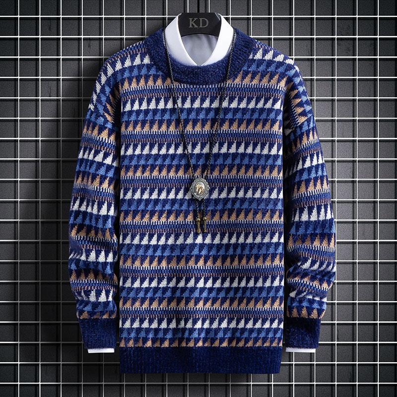2020秋季新款网格挂拍插色百搭针织衫男士毛衣 A436-1-1936-P55