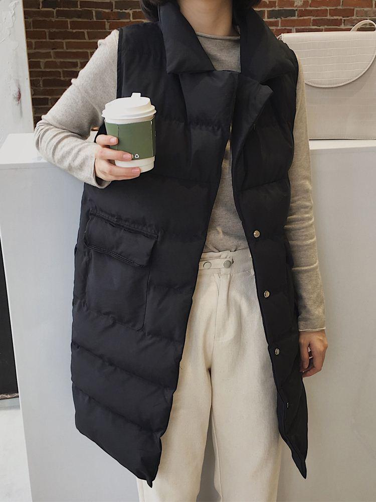 2018秋冬季新款韩版立领羽绒棉马甲女中长款无袖棉服冬天外套潮