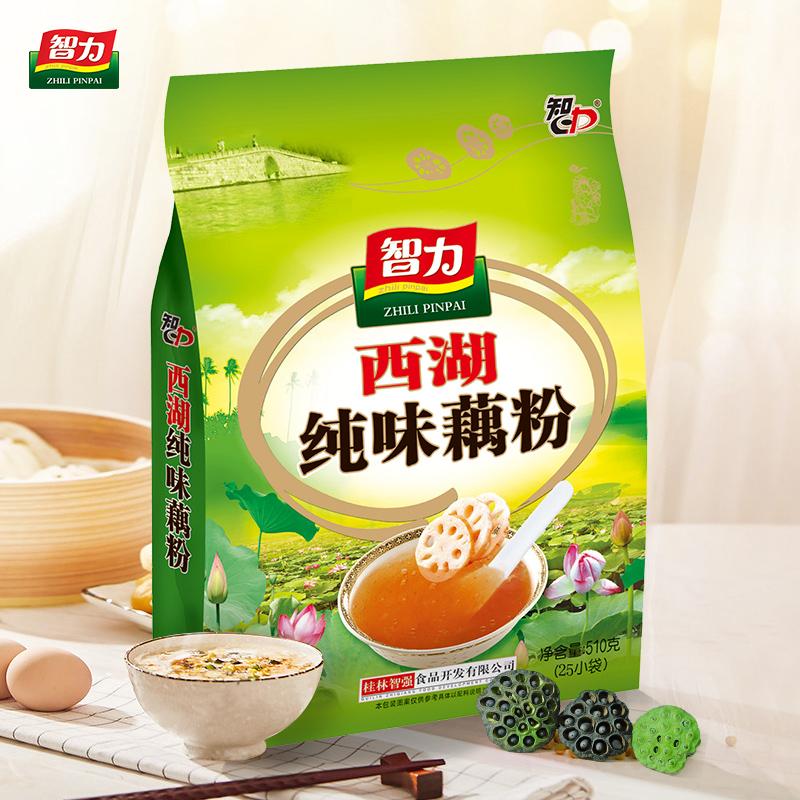 智力西湖纯味莲藕粉510g纯藕粉羹25小袋装冲泡速溶即食早餐代餐粉