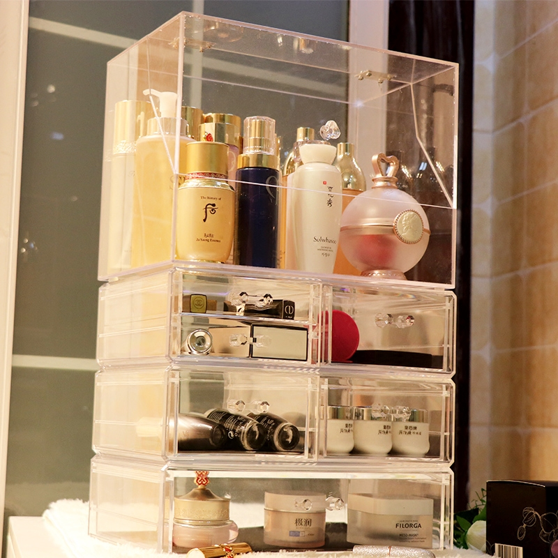 防尘方顶大号透明化妆品收纳盒护肤品有盖整理盒桌面梳妆台置物架