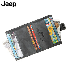 Jeep / Jeep card bag men's ultra thin and small leather bank card case driver's license multi position large capacity small clip