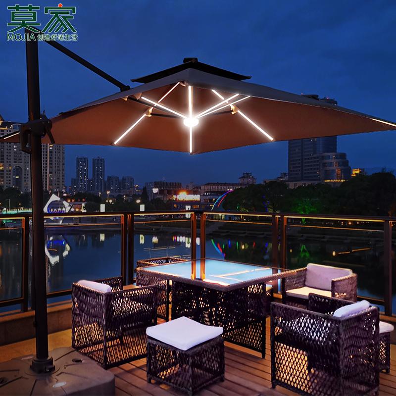 莫家户外伞遮阳伞庭院伞保安室外伞花园太阳能伞LED带灯罗马伞