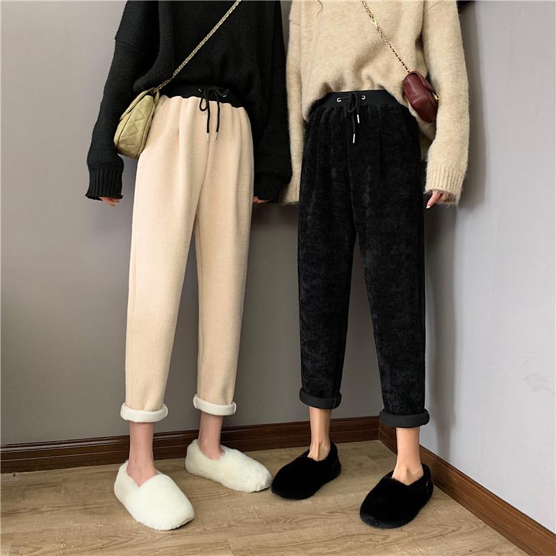 实拍实价 设计感松紧高腰坑条加绒针织休闲裤女韩版百搭-恒瑶家-