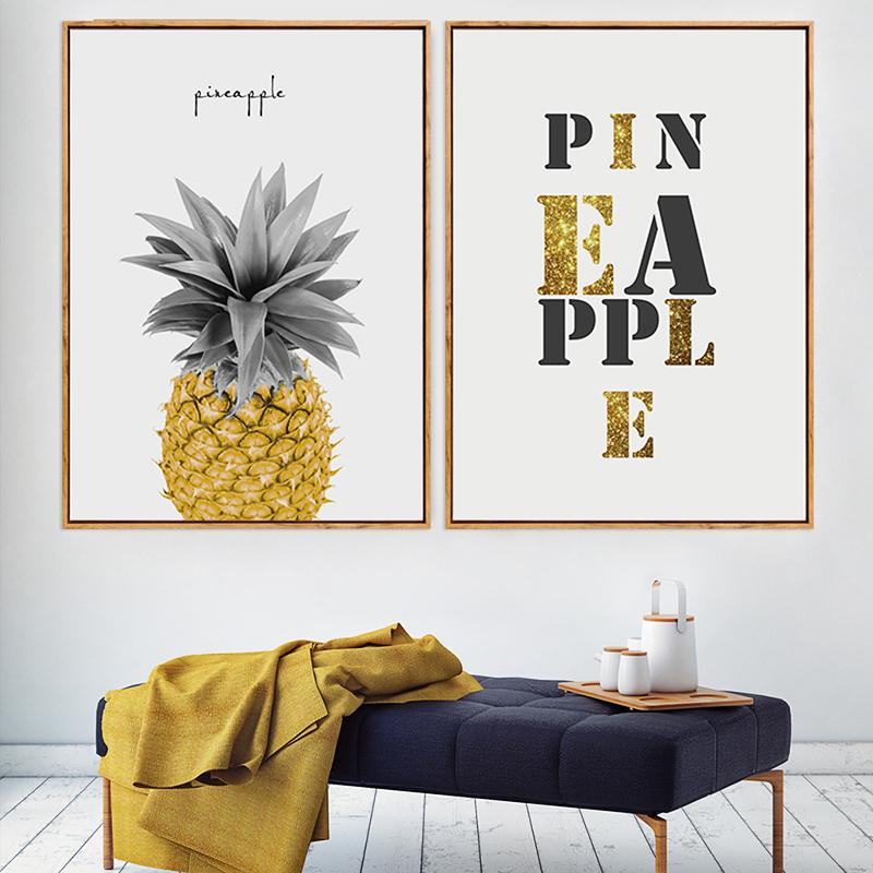 菠萝ppap抽象水果装饰画现代简约客厅沙发背景墙壁画奶茶餐厅挂画