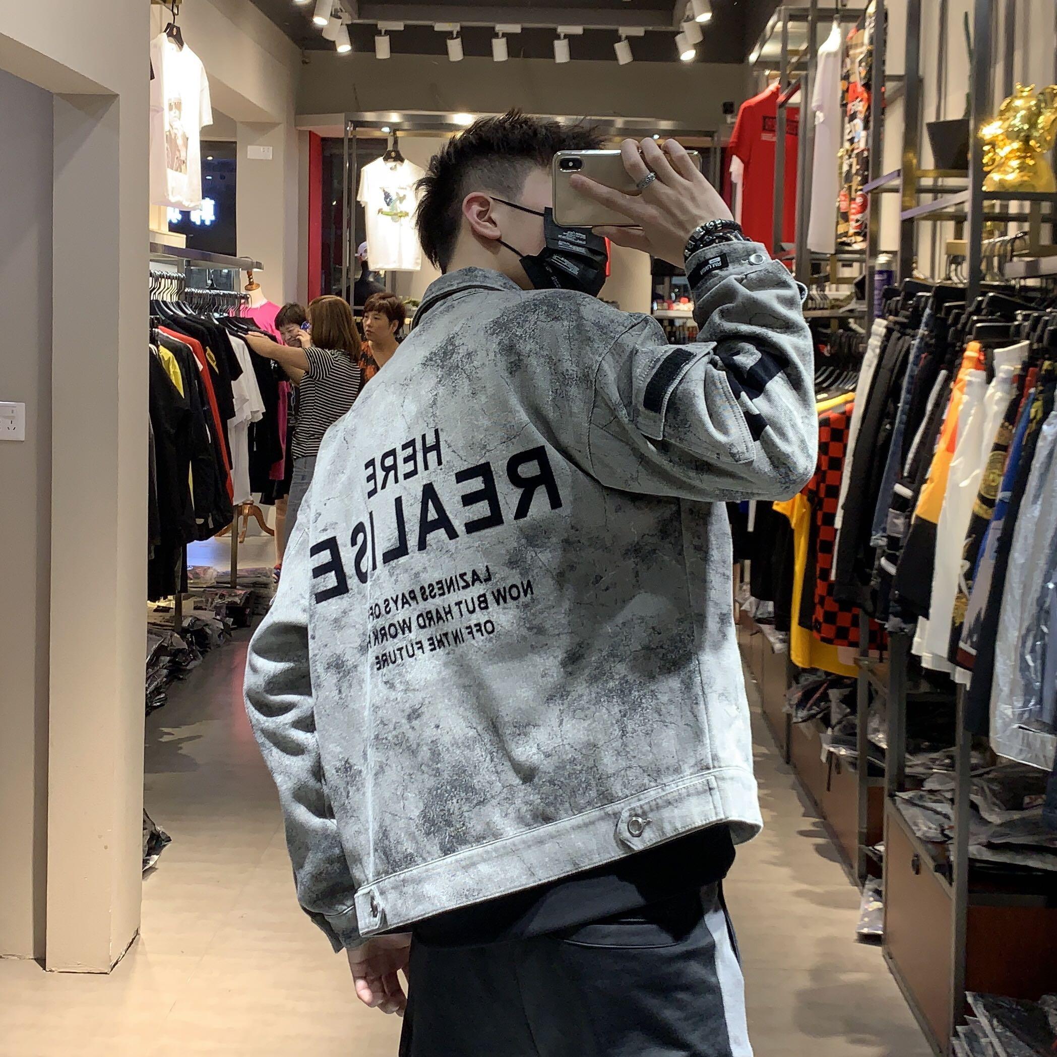2019秋款牛仔衣ins潮牌男装宽松溜肩迷彩花色水洗牛仔夹克外套男