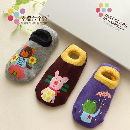 幸福六个色宝宝地板袜儿童女童袜子新生儿袜子秋冬男宝袜子小童袜