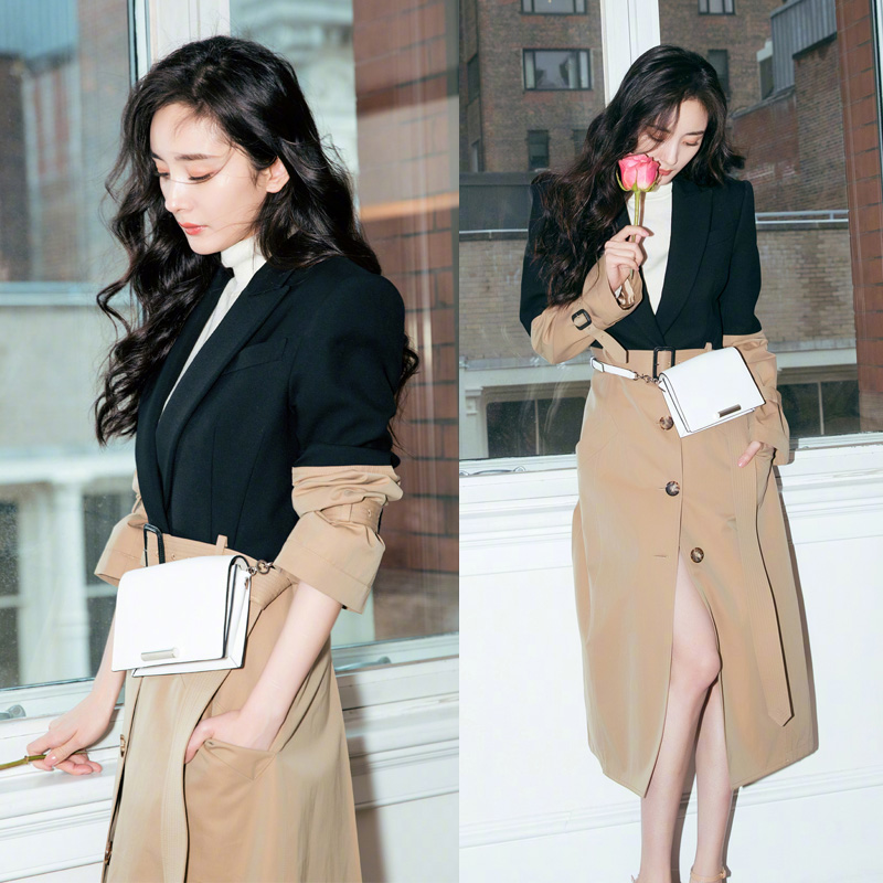 新款杨幂明星同款修身显瘦撞色外套中长款拼接英伦风衣OL韩版女-靓品女装-