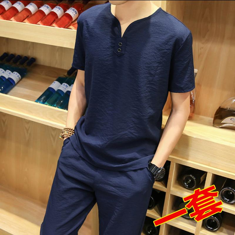 夏季套装男潮流帅气休闲T恤冰丝男装一套搭配2020棉麻新款短袖