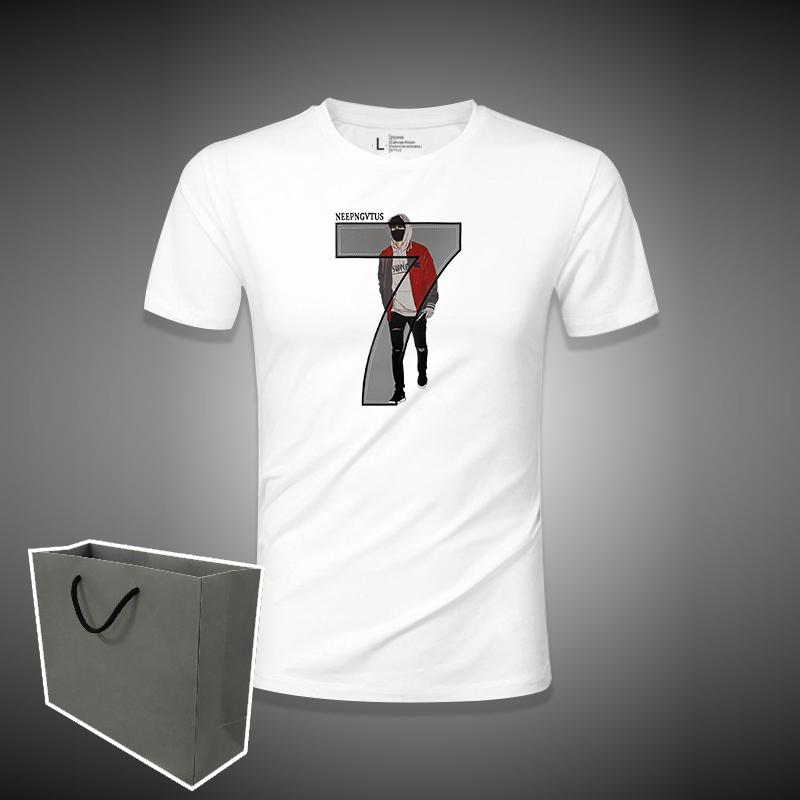 春夏莫代尔丝光棉手感男士修身大码数字7短袖t恤白色打底衫半袖男