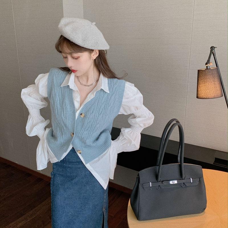 实拍 麻花宽松V领针织衫马甲开衫+小众皱褶泡泡袖设计感衬衫-发财服饰-