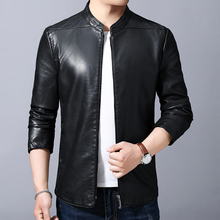 Spring New Middle-aged Men's Leather Jacket, Spring and Autumn Men's Business Leisure Collar Jacket
