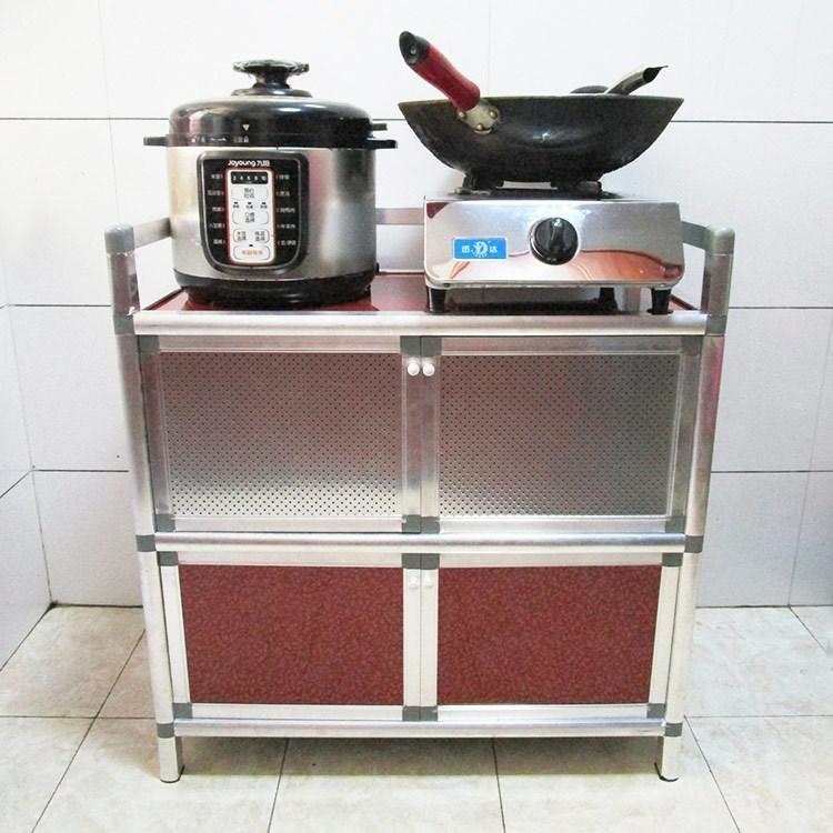 简易餐边柜碗柜厨柜三层组装柜不生锈铝合金柜橱柜厨房家用收纳柜