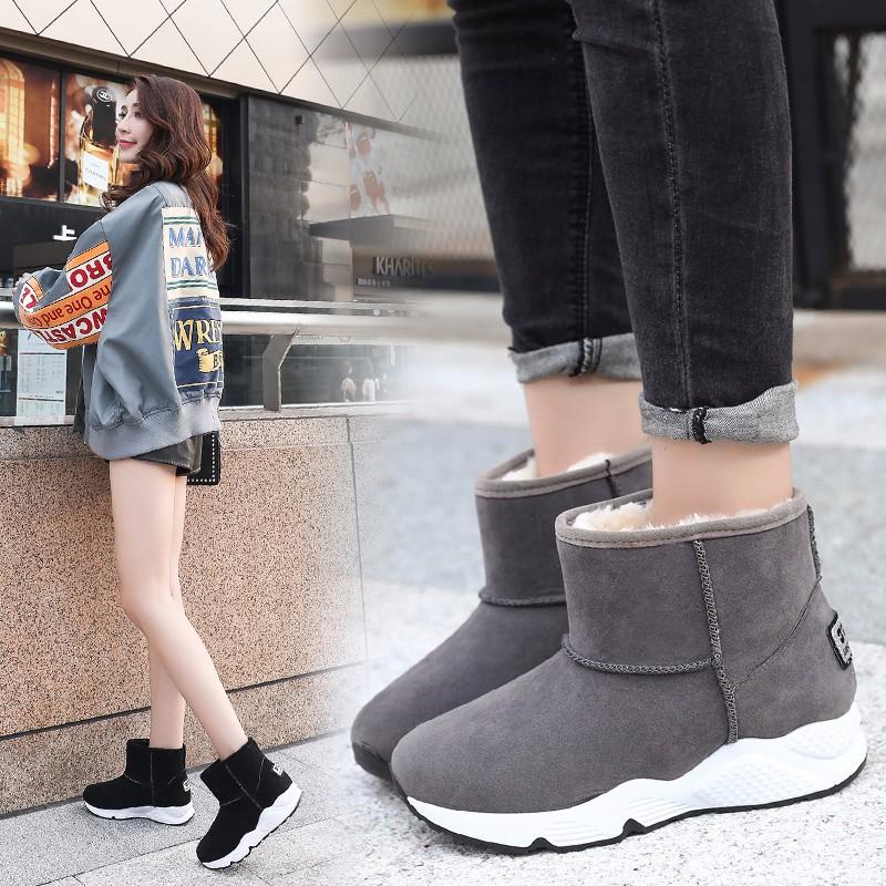 2018秋冬季韩版加绒加厚雪地靴女厚底棉鞋女学生保暖短靴防水女靴