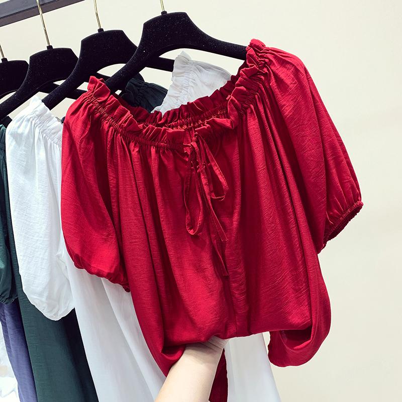 一字肩上衣女夏季2019新款韩版宽松露肩雪纺衫甜美性感短袖衬衫潮