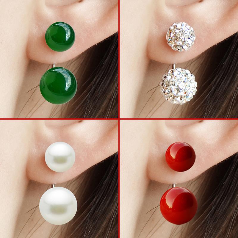 S990纯银耳钉女后挂耳环玛瑙珍珠日韩国气质耳饰品睡觉不用摘饰品