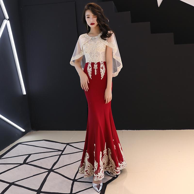 敬酒服新娘2019秋冬季酒红色高贵气质长款酒店室内结婚晚礼服裙女