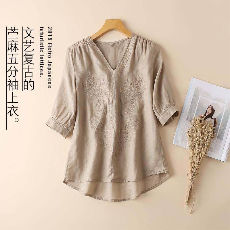 苎麻短袖t恤2019夏装棉麻女装五分袖V领衬衫气质重工刺绣女上衣