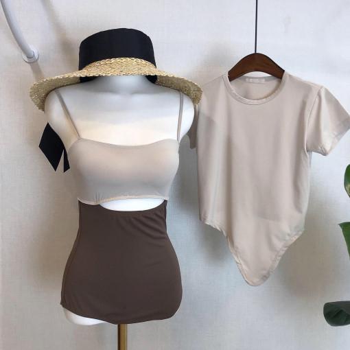 2019新款潮小胸连体保守高腰遮肚显瘦撞色两件套温泉沙滩游泳衣女