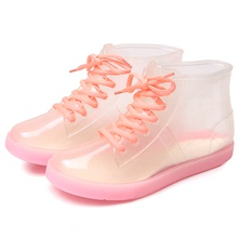 Transparent cute adult short barrel rainshoes waterproof shoes, women's shoes, slippery rubber overshoes, Korean fashionable outwear rainboots in summer