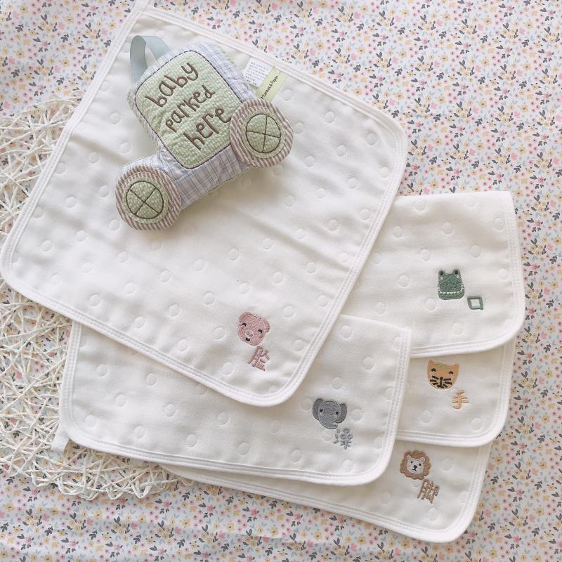 爱予刺绣宝贝6层纱布婴儿童毛巾口水巾方巾多功能自制5条装厚手帕