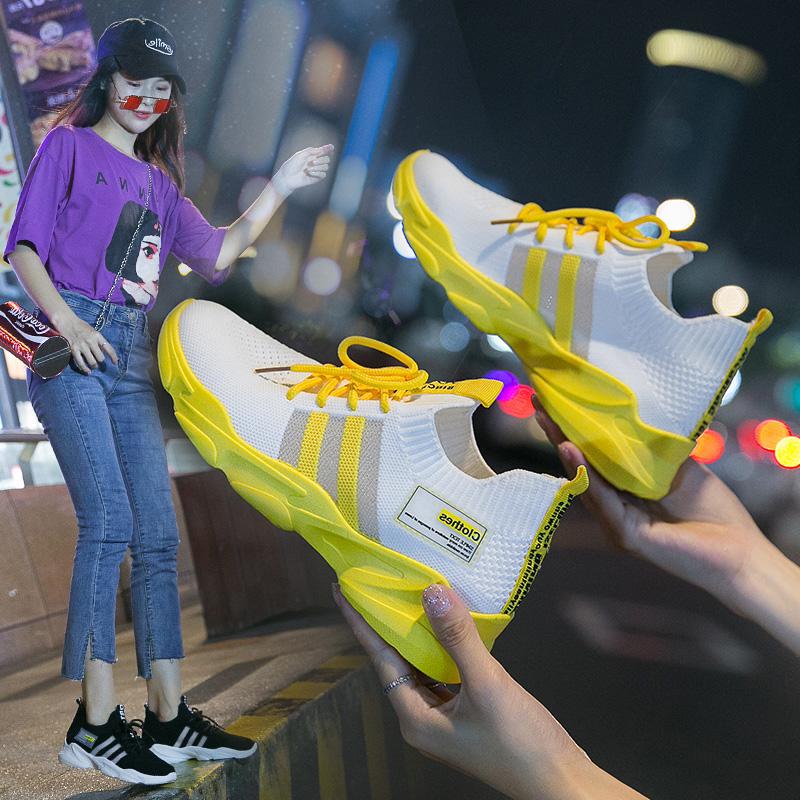 淘皮猫INS超火鞋子2019新款女运动鞋透气飞织百搭休闲软底跑步鞋