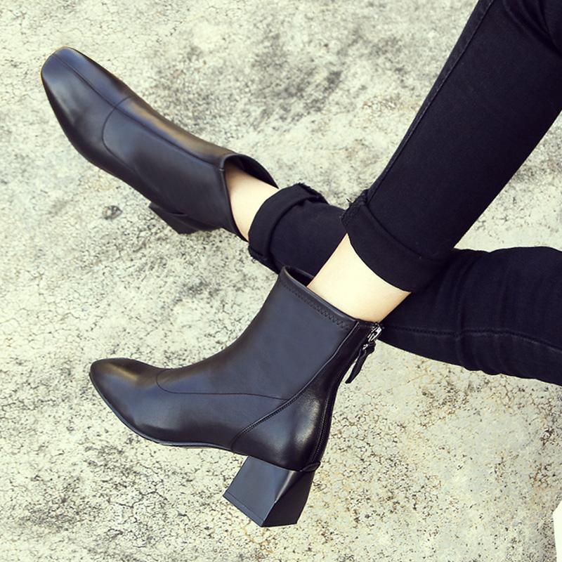 真皮短靴女粗跟2018新款秋冬季鞋子时尚方头中跟加绒女士马丁靴