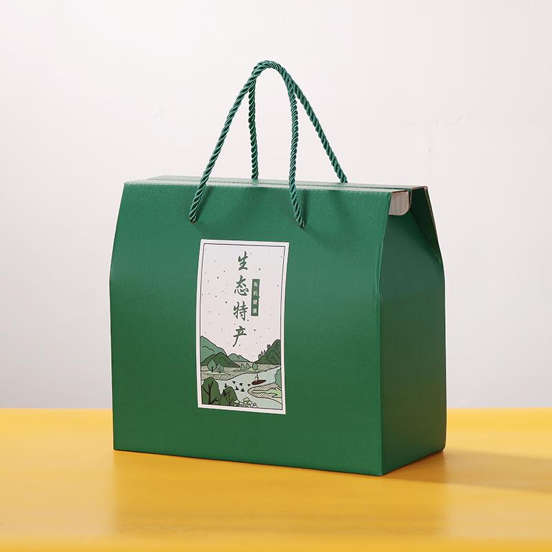 特产通用礼品盒高档绿色手提礼品盒熟食干货海鲜加厚水果纸箱定制