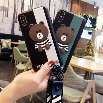新款可爱条纹熊苹果x手机壳防摔iphoneX软硅胶创意情侣女挂绳潮X满25元减10元