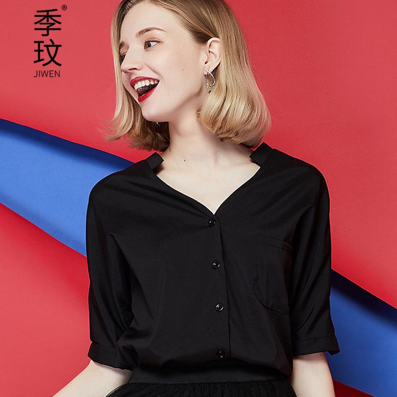 雪纺衬衫女白衬衫短袖休闲时尚衬衣气质显瘦百搭心机复古黑色上衣优惠券