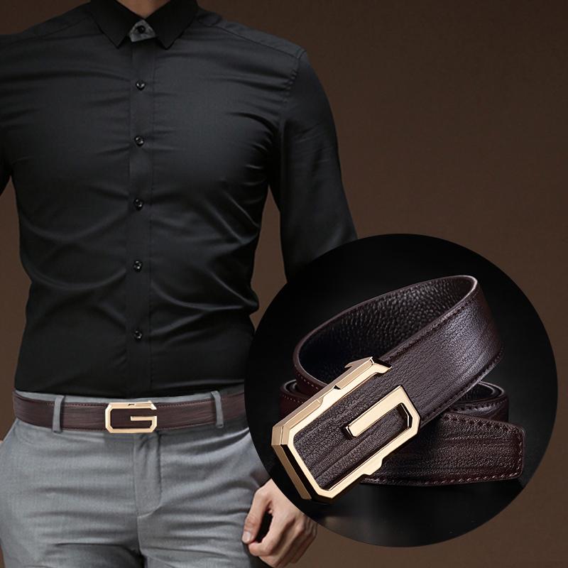 皮带男青年时尚个性韩版潮流平滑扣腰带字母中年真皮休闲牛皮裤带