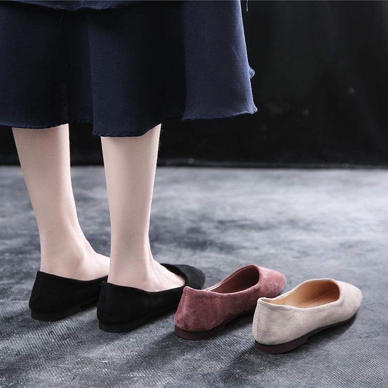 豆豆鞋2019夏新款网红奶奶鞋温柔仙女百搭浅口单鞋晚晚鞋平底鞋女