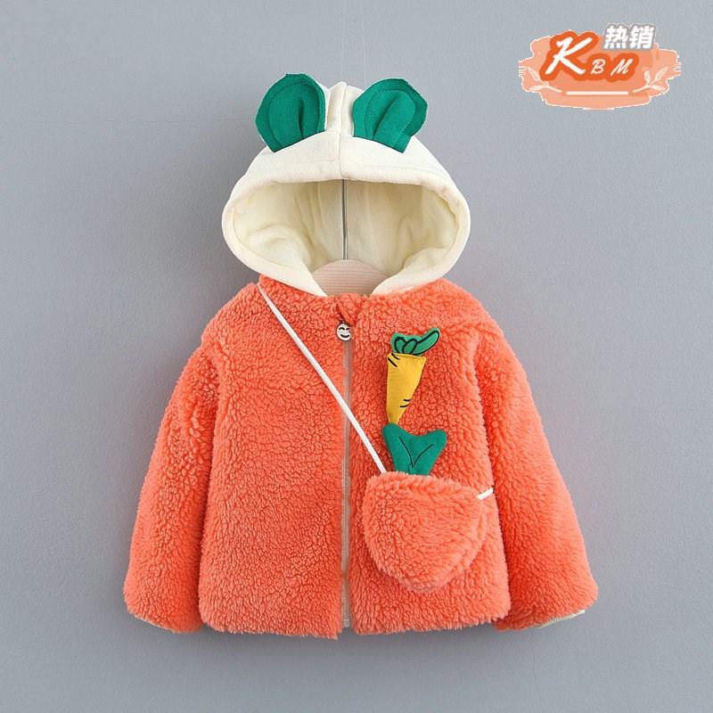 19女宝宝秋冬装韩版洋气羊羔绒加厚儿童外套2女童4秋季1岁半3棉衣