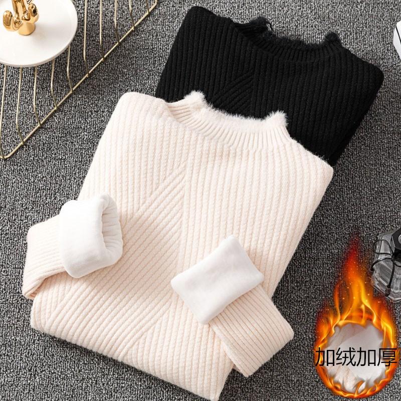加绒毛衣女2019新款秋冬加厚半高领套头针织衫长袖保暖短款打底衫