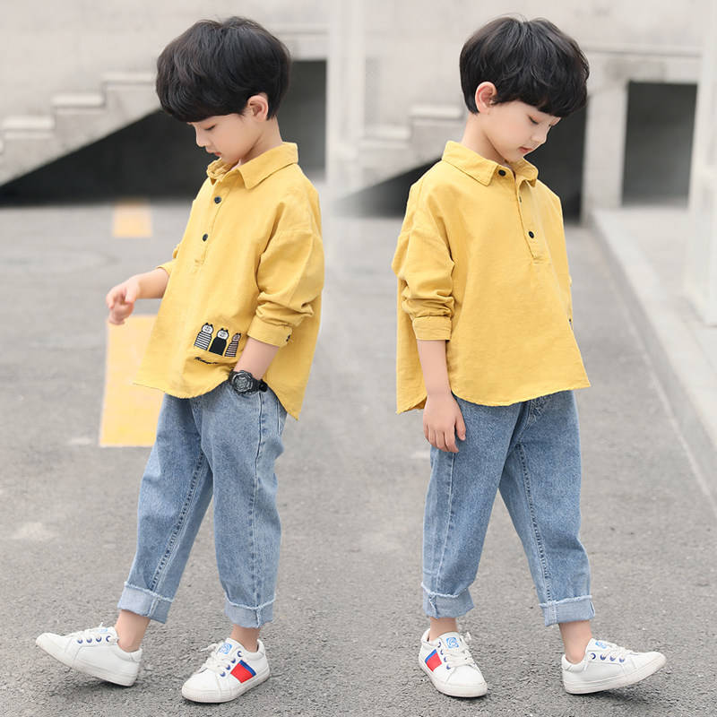 儿童装男童秋装套装2019新款中大童小童洋气春秋款韩版衬衫两件套
